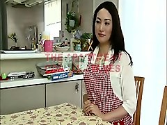 busty wife gets her cooking interrupted with toys and cock