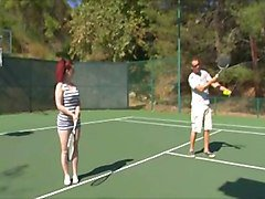 redhead pawg's tennis lesson turned fuck session