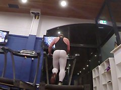 Guy in white spandex at the gym