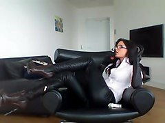 smoking brunette - pants + boots