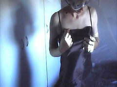 silky black satin gown, panties and gloves