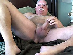 naked grandpa plays with his naked cock