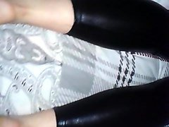 shiny wetlook leggins ass and feets on cock