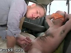 hairy bald guy gets blindfolded and sucked in car