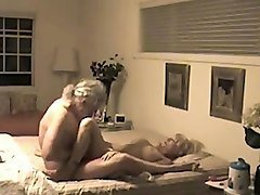 horn-mad grey haired old fucked his naughty wife missionary style