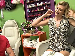 hot blonde babe gets banged in the salon