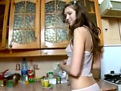 Solo dildo in the kitchen