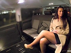 fucked in traffic - enticing czech brunette rides cock and eats cum in the backseat of the car