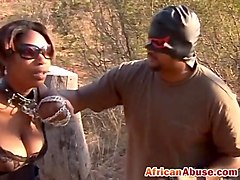 African guys fuck hot ebony in threesome