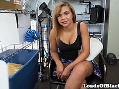 Interracial casting babe fucked on desk