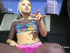 blonde teen in pink shorts gets banged in public