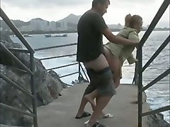 mature french mom screwed on a public beach outdoor