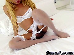 sexy shemale with a big cock drills her man wildly