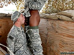 white soldier boy swallows a big black cock