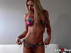 sexy muscle body girl and fake tits